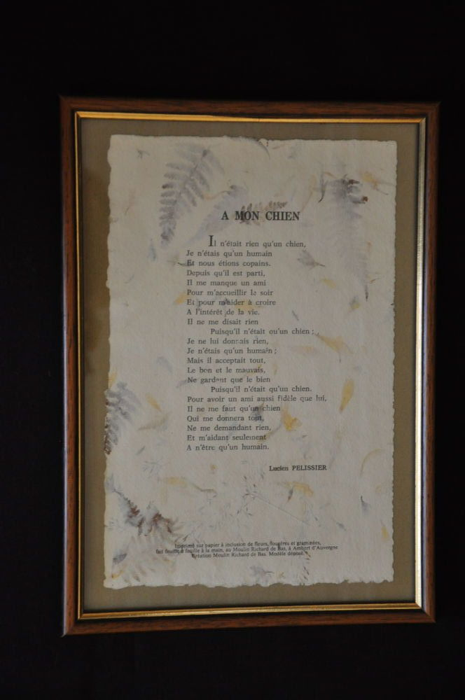 Tableau Poème L. PELISSIER sur papier à inclusion 9 Guilvinec (29)