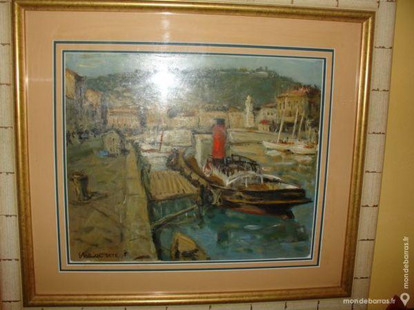 Tableau le remorqueur au port de Sète Eric BATTIST 680 Béziers (34)