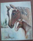 Tableau signé Marie Pierre, chevaux 33 cm x 41 cm 30 Montauban (82)