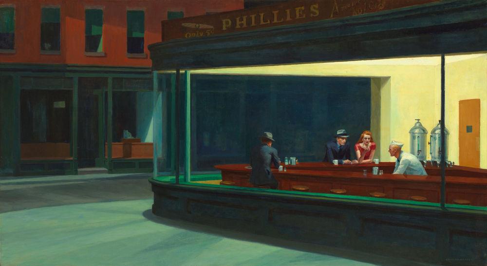Tableau toile peinture Edward Hopper Nighthawks  Toile monté 120 Marseille 13 (13)