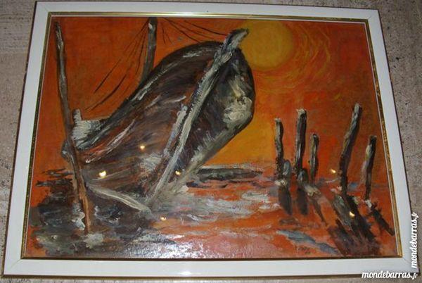 Tableau «Vieux bateau au crépuscule » 150 Antibes (06)