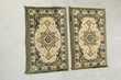 2 tapis identiques 40 x 70 cm , vert et or