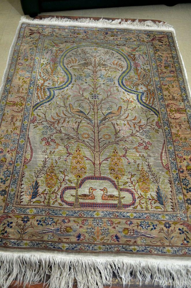 Tapis persan Ghom, soie sur soie, arbre de vie fait main Décoration