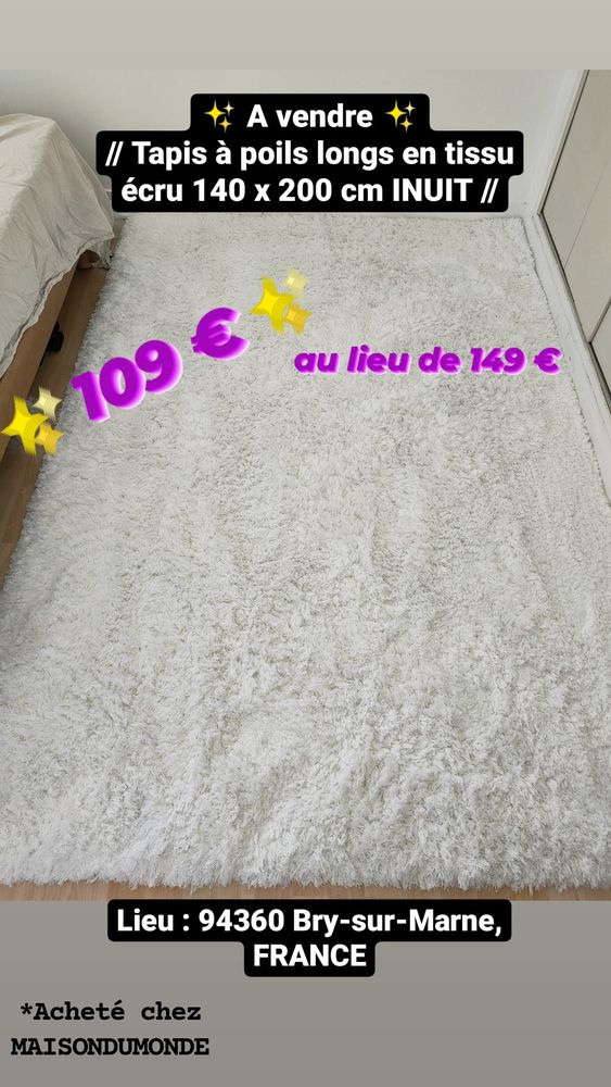 Tapis à poils longs en tissu écru 140 x 200 cm INUIT 109 Bry-sur-Marne (94)