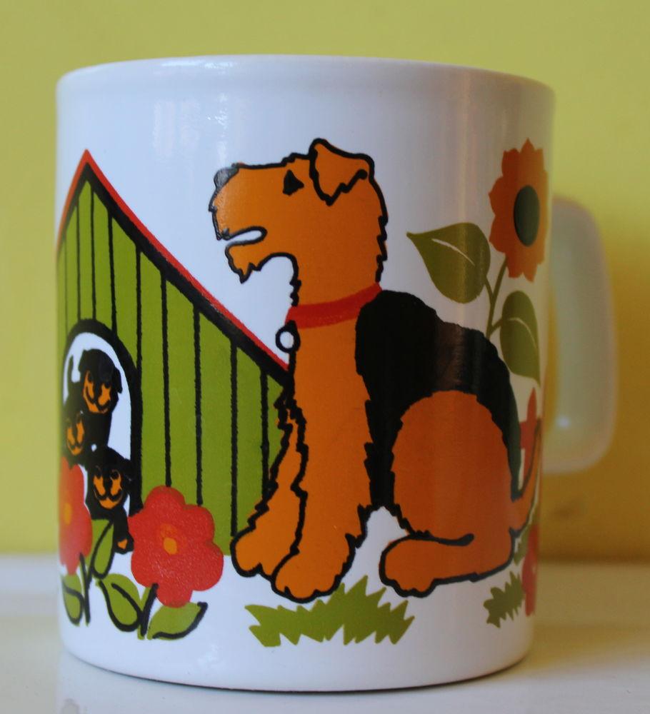 Tasse mug vintage 70 Fox terrier Staffordshire kiln craft  15 Issy-les-Moulineaux (92)