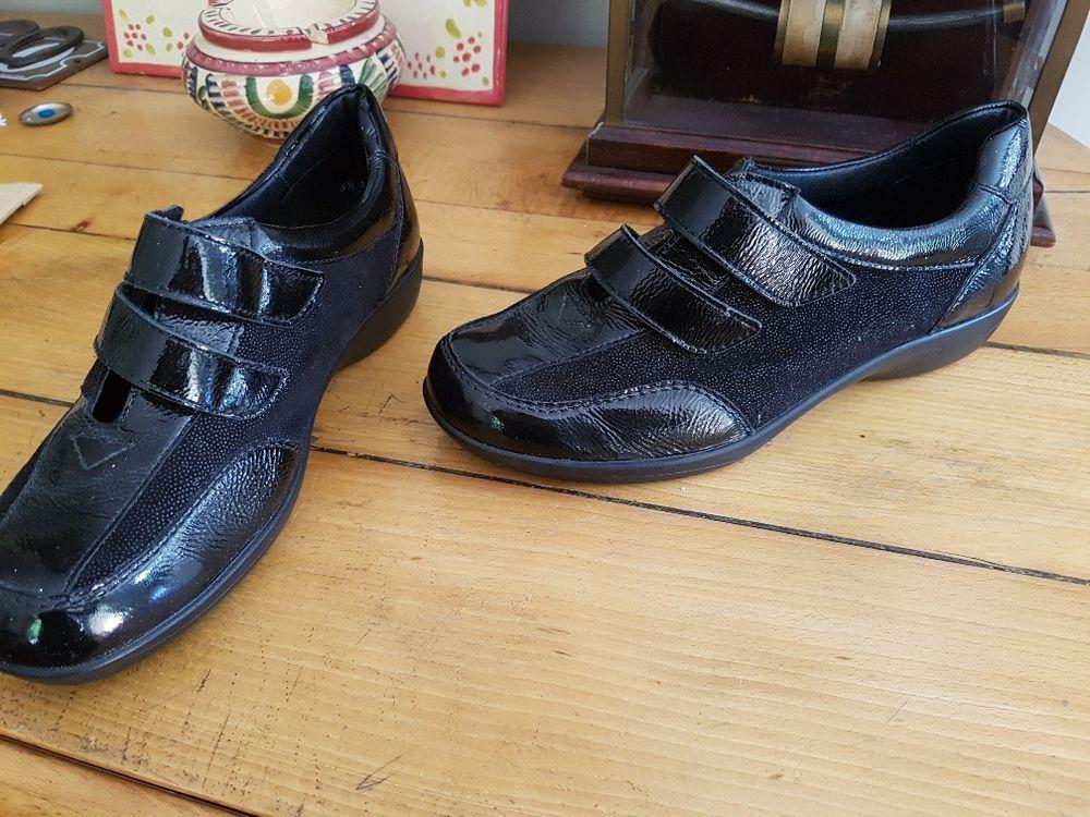 Tennis noir chic cuir, verni, Luftpolster, pieds sensibles Chaussures