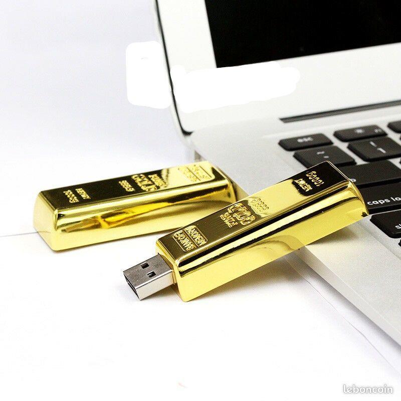 CLE USB 1 TERA OU 1000 GO FORME LINGOT D OR Neuf Bijoux et montres