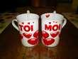 Tête à tête 2 tasses mugs + cuillères négociable