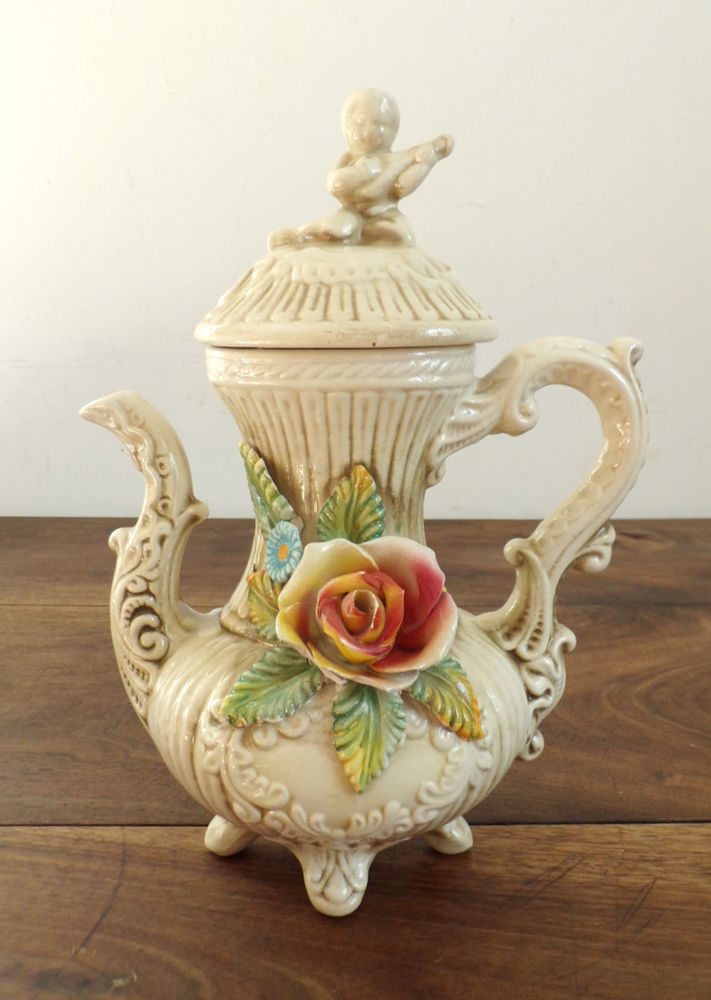 Théière cafetière en céramique style Capodimonte Shabby chic 28 Livré (53)