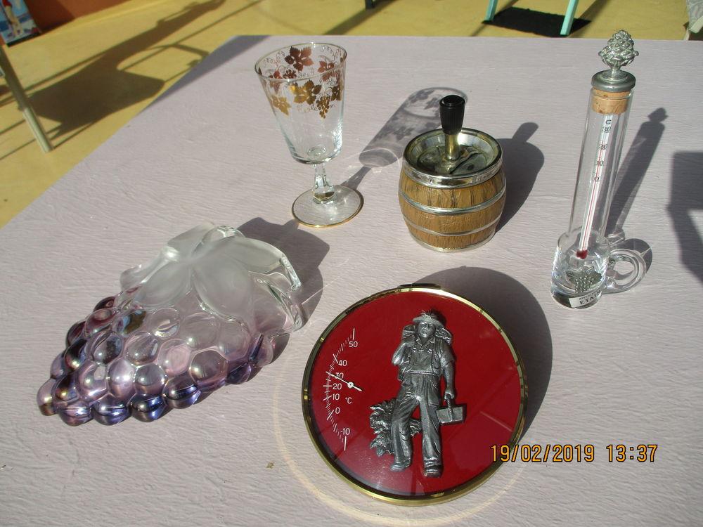 Lot thermomètre décor feuilles raisins & coupelle 45 Le Vernois (39)