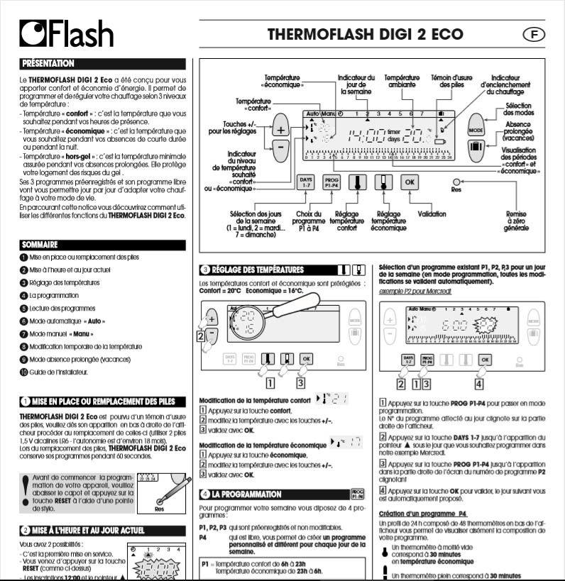 Thermostat d'ambiance programmable hebdo Flash DIGI 2 ECO 22 Agen (47)