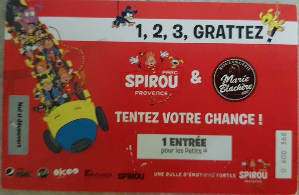 Ticket gagnant parc Spirou pour enfant de moins de 1,40 m 7 Châteauneuf (42)