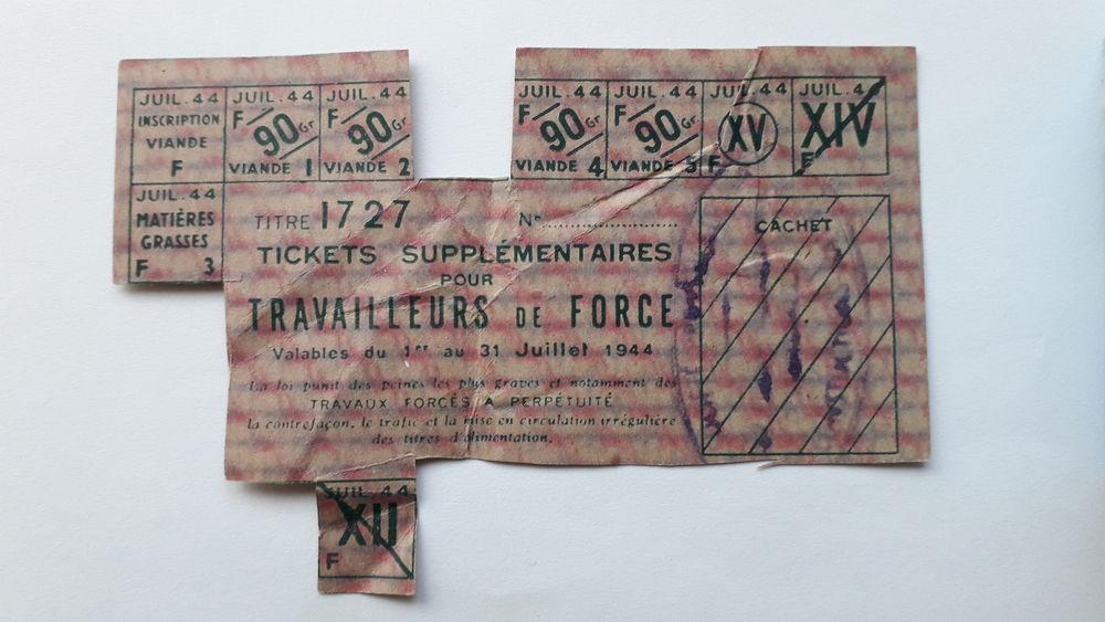 Ticket supplémentaire pour travailleurs de force 1944 10 Salon-de-Provence (13)