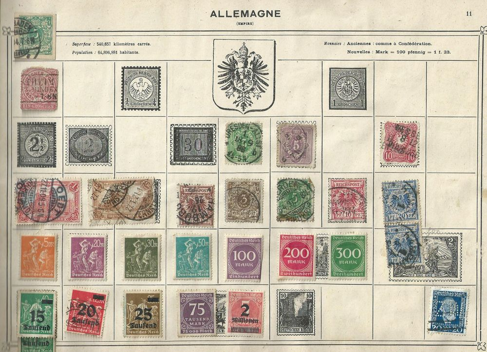 Timbre allemagne , empire 2 pages 55 Tours (37)