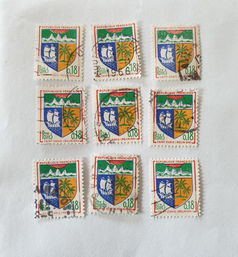 Timbre france armoiries st denis la réunion  1962- 0.70 euro 0 Marseille 9 (13)
