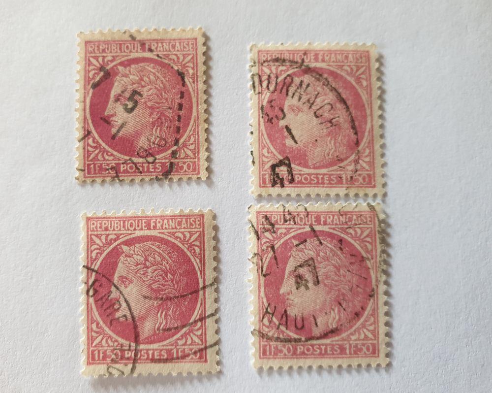 Timbre France Cérès de Mazelin  rouge violet 1.50 F (1945) o 0 Marseille 9 (13)
