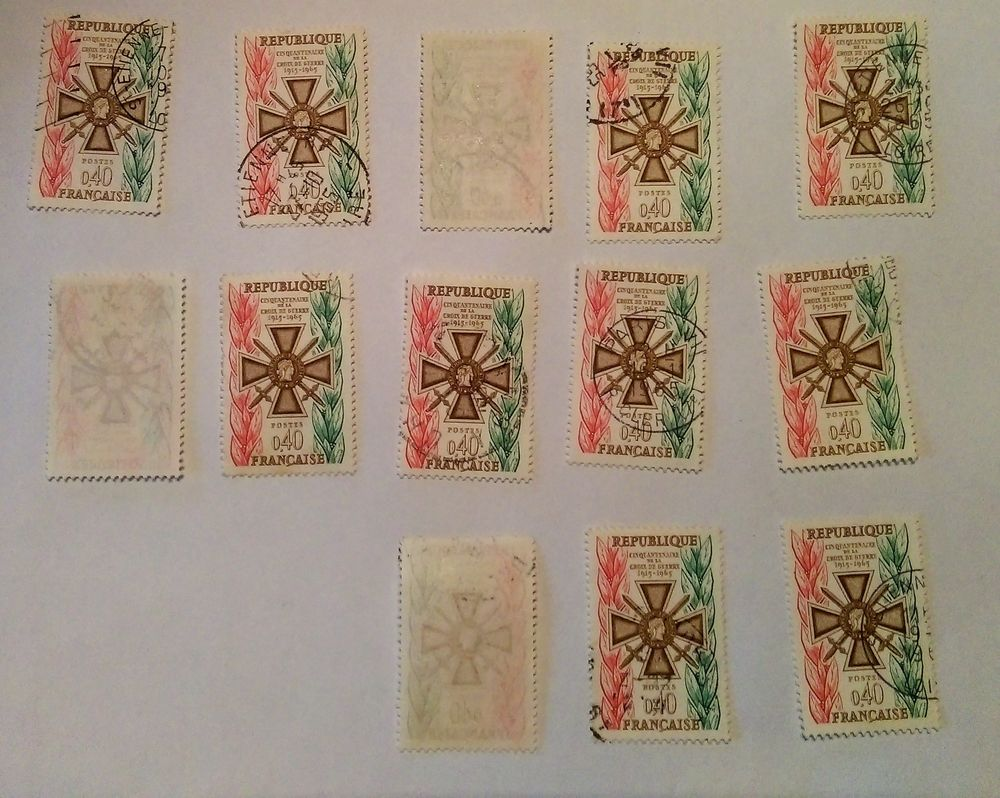 timbre france Cinquantenaire de la Croix de Guerre  0,40F -  0 Marseille 9 (13)