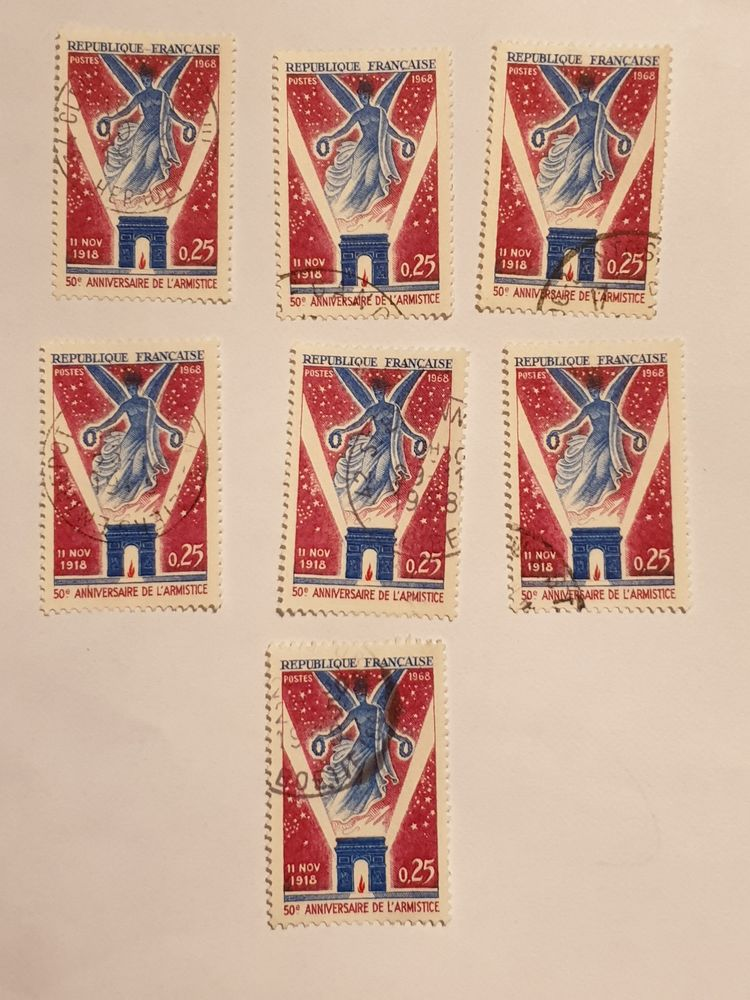 Timbre France Cinquantenaire armistice 1968 lot 0.35 euro 0 Marseille 9 (13)