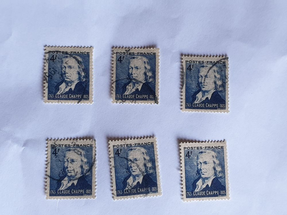 Timbre france Claude Chappe 1944- lot 0.36 euro 0 Marseille 9 (13)