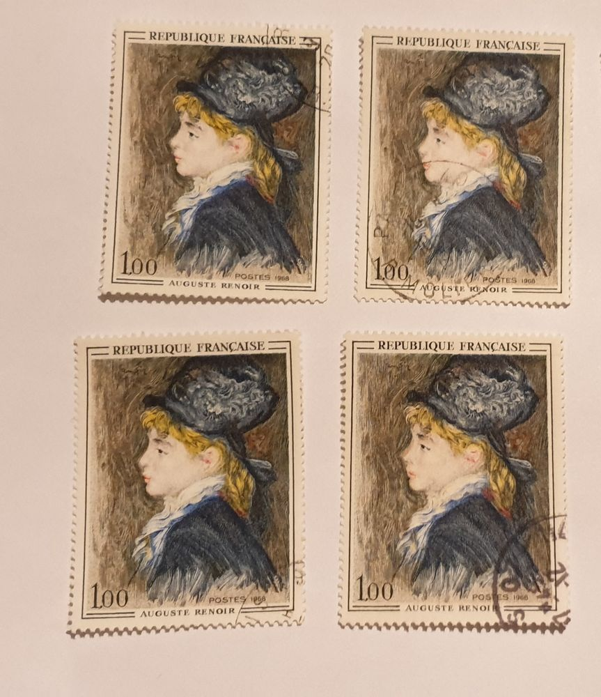 Timbre France  Tableau d'Auguste Renoir (1968) lot 0.78 eur  0 Marseille 9 (13)