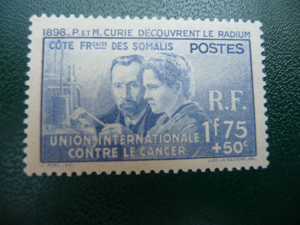 timbre pierre et marie curie somalis neuf