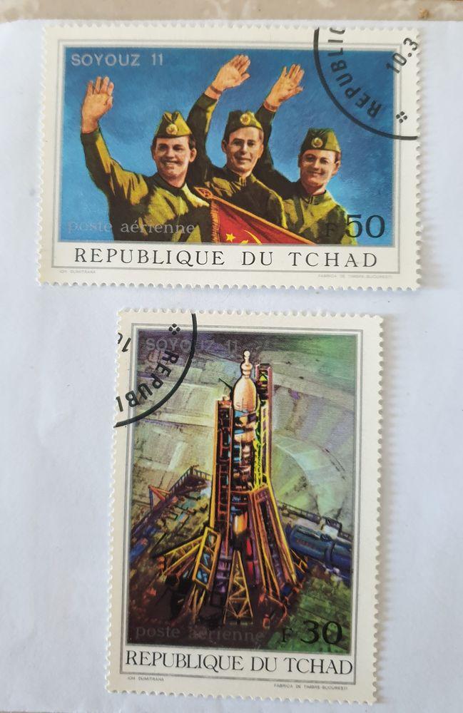 Timbre tchad soyouz 11 série 1 - 1972 oblitéré  1 euro  1 Marseille 9 (13)
