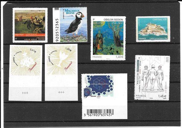lot de 8 timbres adhésifs et neufs 18 Maubeuge (59)