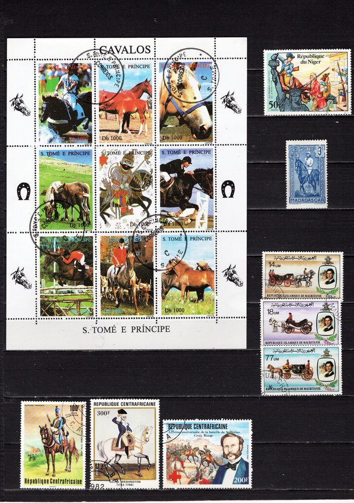 lot de 63 timbres d'AFRIQUE avec des CHEVAUX< 3 Les Églisottes-et-Chalaures (33)