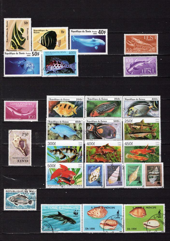 lot de 43 timbres d'AFRIQUE sur la FAUNE AQUATIQUE 2 Les Églisottes-et-Chalaures (33)