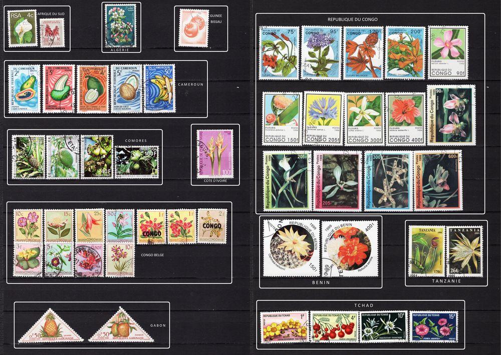 lot de 80 timbres d'AFRIQUE sur la FLORE et les FRUITS 6 Les Églisottes-et-Chalaures (33)