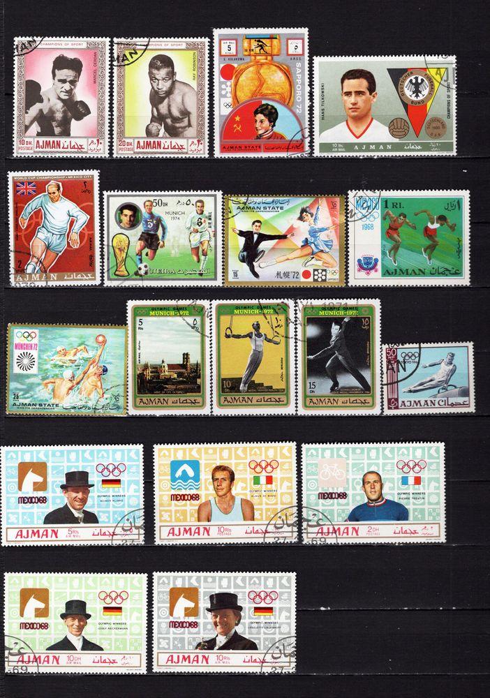 lot de 30 timbres d'AJMAN et de MANAMA sur les SPORTS
