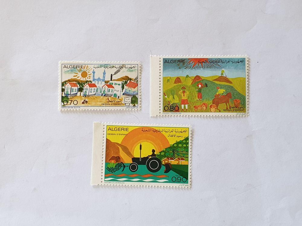 Timbres Algérie 1974 dessin enfant -lot 1.20 euro avec gomme