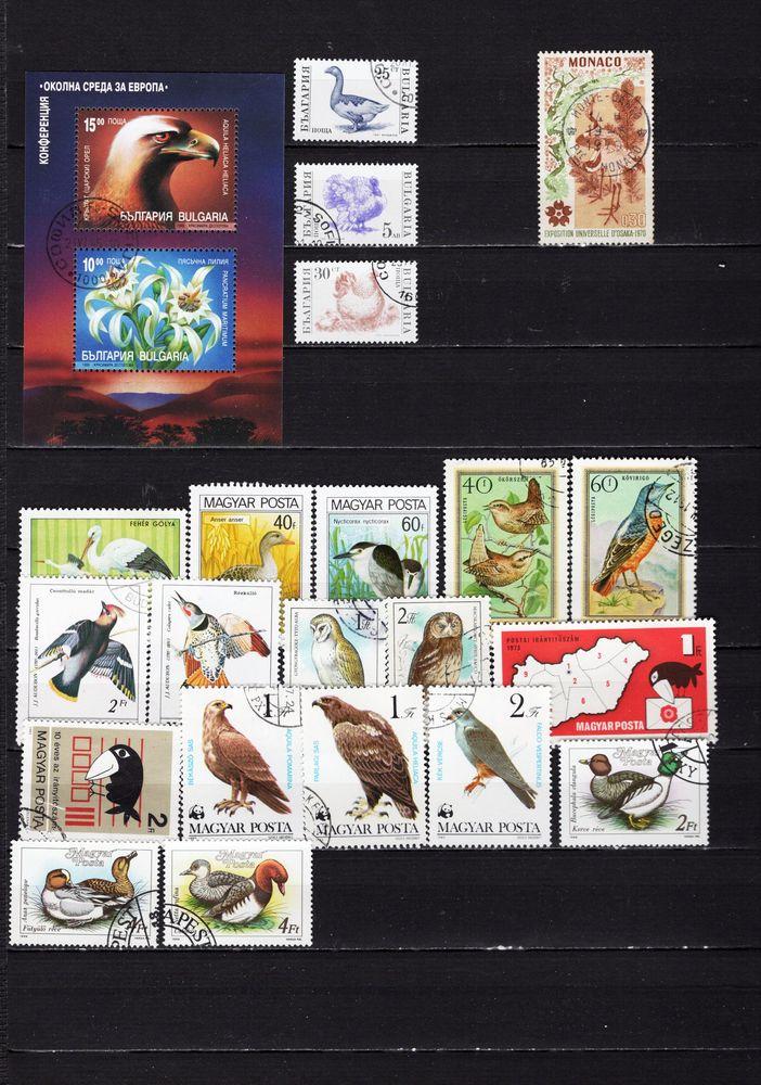 lot de 71 timbres d'AMERIQUE et d'EUROPE avec des OISEAUX 5 Les Églisottes-et-Chalaures (33)