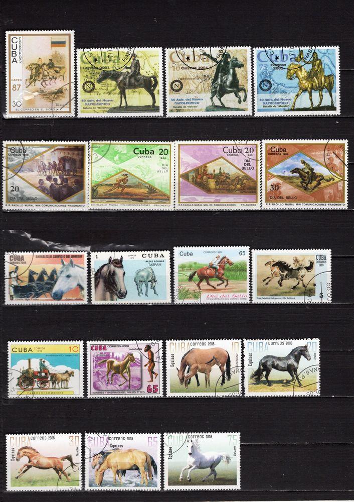 lot de 19 timbres de CUBA avec des CHEVAUX 1 Les Églisottes-et-Chalaures (33)