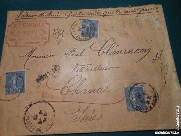 timbres sur enveloppe cachetée 1923   1p46 12 Grézieu-la-Varenne (69)