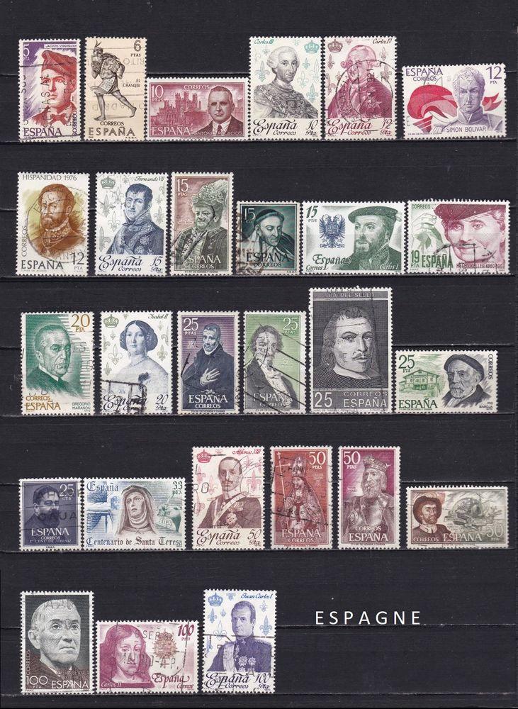 71 timbres d'ESPAGNE sur les PERSONNALITES 3 Les Églisottes-et-Chalaures (33)