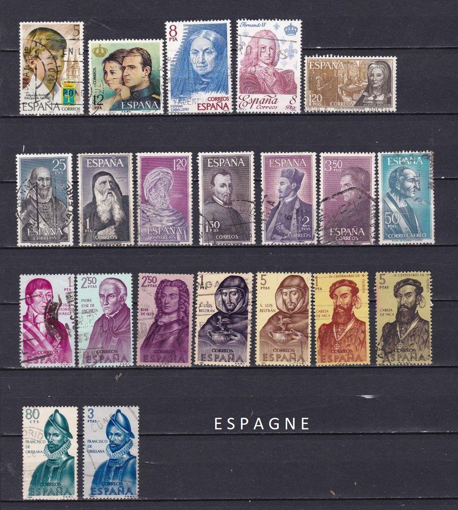 21 timbres d'ESPAGNE sur les PERSONNALITES 1 Les Églisottes-et-Chalaures (33)