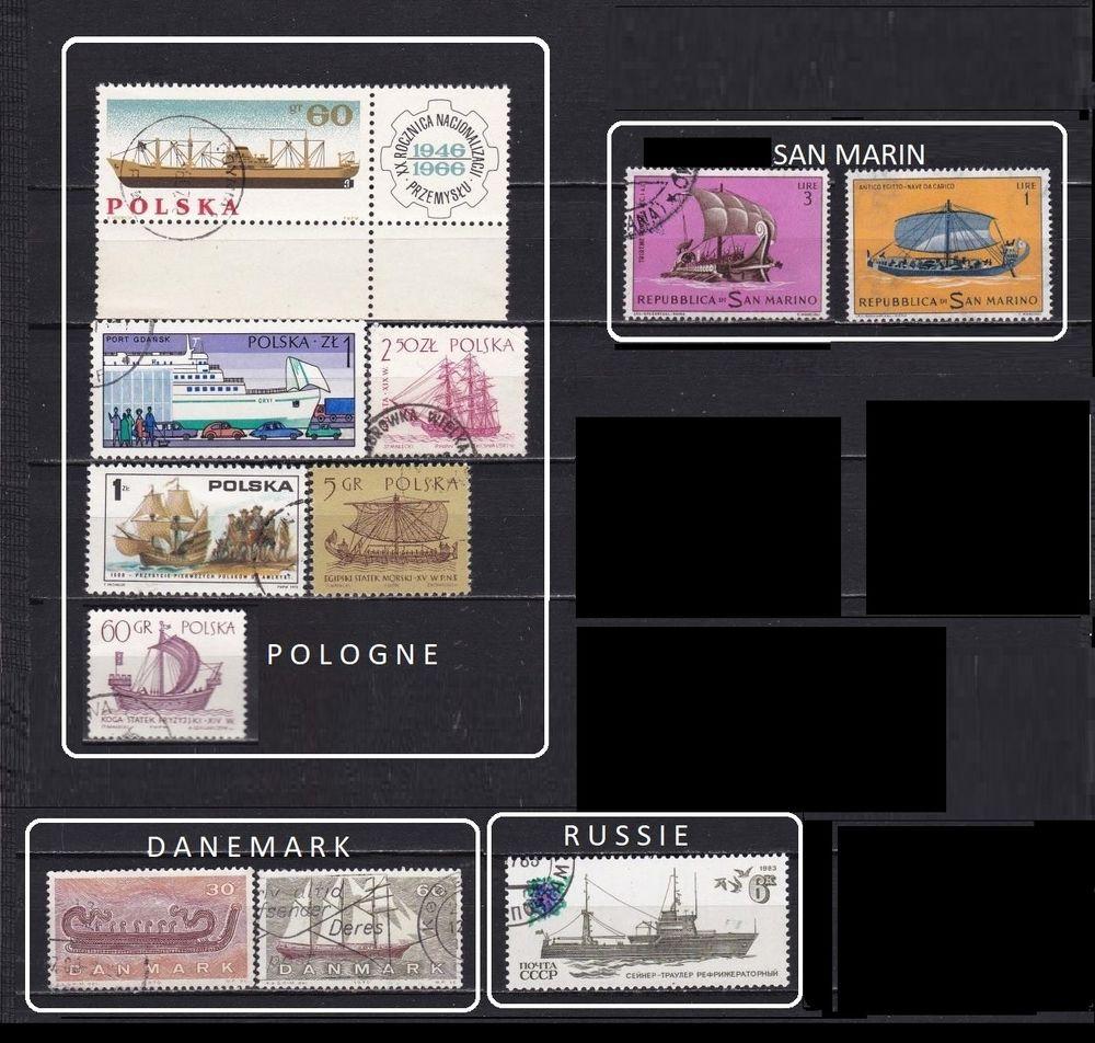 lot de 87 timbres d'EUROPE avec des BATEAUX 5 Les Églisottes-et-Chalaures (33)