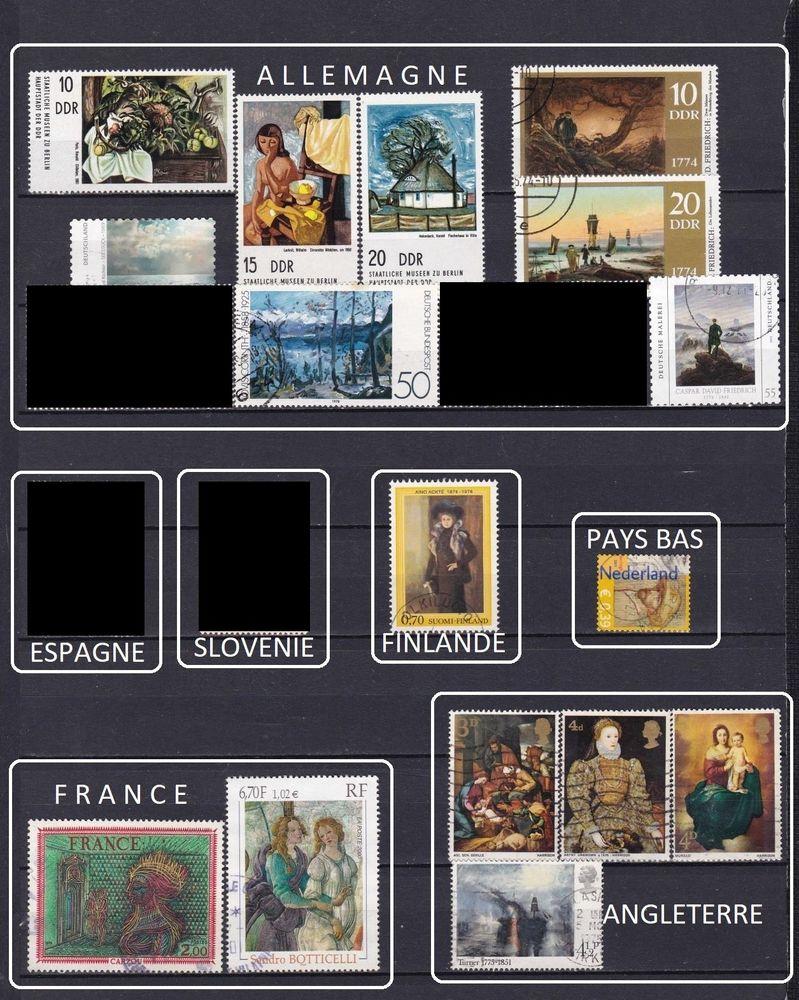 lot de 32 timbres d'EUROPE sur la PEINTURE 5 Les Églisottes-et-Chalaures (33)