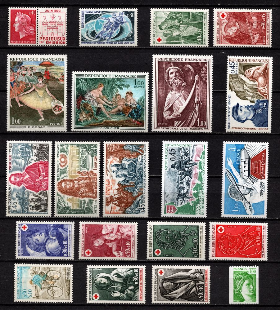 Lot Timbres France** de 1970/78, superbes
