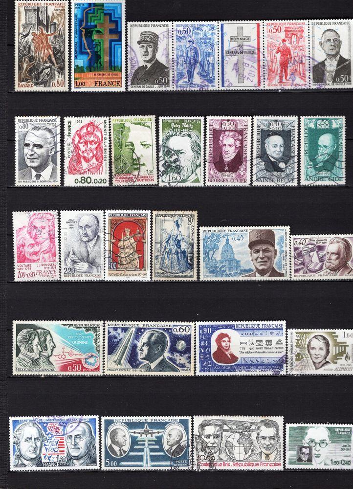 lot de 40 timbres de FRANCE avec des PERSONNALITES 3 Les Églisottes-et-Chalaures (33)
