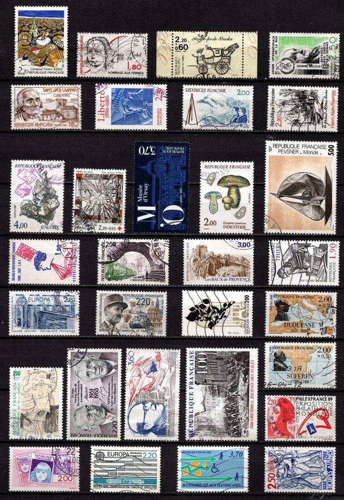 Lot timbres de France oblitérés de 1986/88, TB 2 Cholet (49)