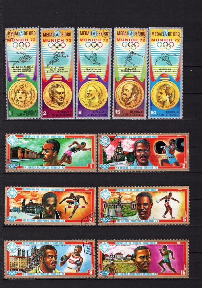 lot de 36 timbres de GUINEE EQUATORIALE sur les SPORTS 5 Les Églisottes-et-Chalaures (33)