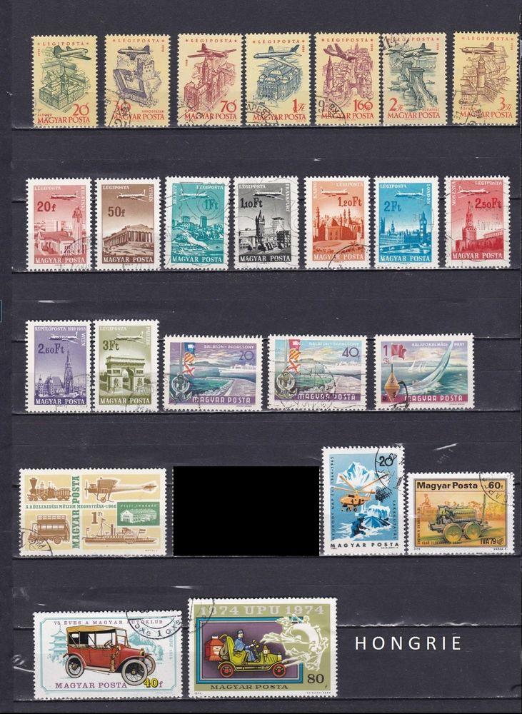 25 timbres de HONGRIE sur les MODES de TRANSPORTS 1 Les Églisottes-et-Chalaures (33)