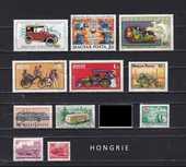 12 timbres de HONGRIE sur les TRANSPORTS ROUTIERS 1 Les Églisottes-et-Chalaures (33)