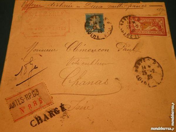 timbres sur lettre cachetée 4p45 12 Grézieu-la-Varenne (69)