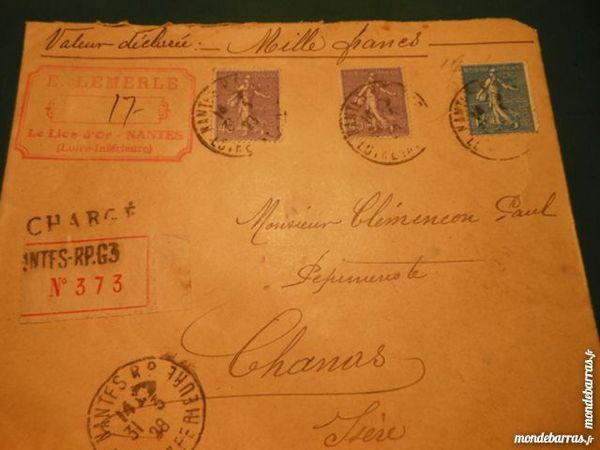 timbres sur lettre cachetée 1923  16p46 12 Grézieu-la-Varenne (69)