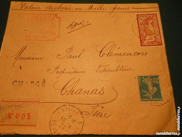 timbres sur lettre cachetée 1924  3p46 12 Grézieu-la-Varenne (69)