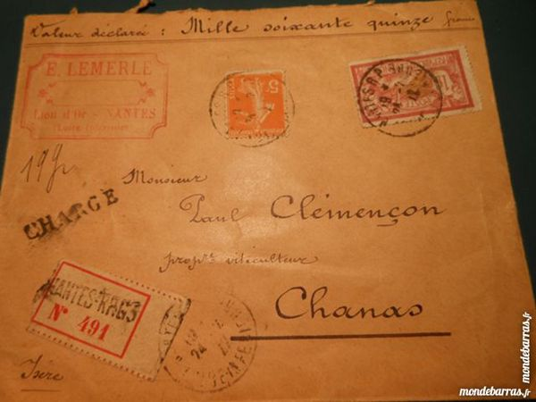 timbres sur lettre cachetée 1922    2p46 15 Grézieu-la-Varenne (69)