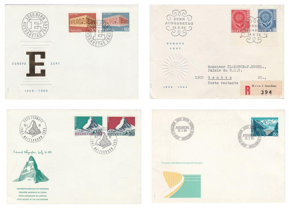 Lot de timbres lettres 1er jour de Suisse 9 Berre-l'Étang (13)